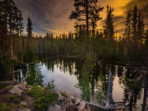 Breaking Dawn. Dawn breaking over Lake Eleanor in the Caribou Wilderness Area in Northern California Royalty Free Stock Image