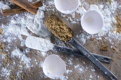 Breaking Eggs -  Baker's Countertop Stock Image
