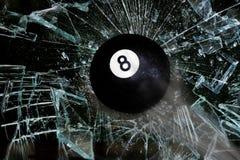 Breaking Eight Ball. Eight ball going through broken glass stock illustration