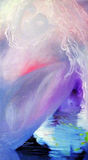 Breaking free abstract oil painting blue and pink Stock Photos