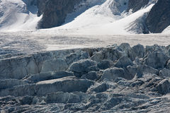 Breaking glacier. Glacier du Tour in the Mont Blanc area Royalty Free Stock Photo