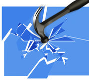 Breaking glass. Illustration of a hammer smashing glass Royalty Free Stock Photo