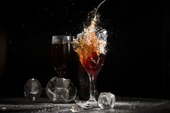 The breaking of a glass with fragments. royalty free stock photos