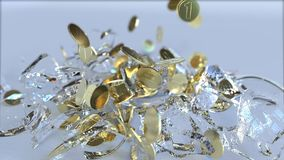 Breaking glass piggy bank full of coins. Crisis related conceptual 3D animation stock illustration