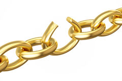 Breaking golden chain, 3D rendering. On white background Stock Photography