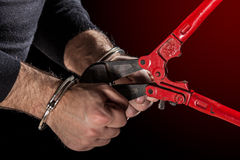 Breaking Handcuffs Royalty Free Stock Photography
