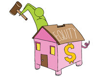 Breaking Home Equity Piggy Bank Stock Photography