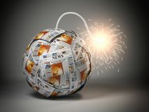 Breaking hot news concept. Bomb from newspapers with wick  and s. Parks. 3d illustration Stock Image
