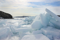 Breaking ice in the bay Stock Photo