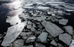Breaking of the ice on the river Neva in St. Petersburg, Russia Royalty Free Stock Photos