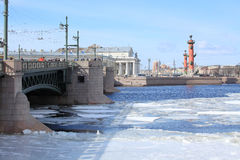Breaking of the ice on the river Neva in St. Petersburg, Russia Royalty Free Stock Photo