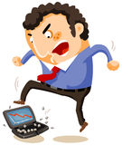 Breaking the laptop by Huge Stress. Vector Illustration Stock Photography