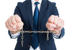 Breaking the law concept with corrupt chained politician in clos royalty free stock images