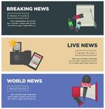 Breaking news and journalism profession flat vector bannersr design of journalist working items. Breaking live news banners for journalist profession working Stock Image