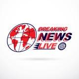 Breaking live news inscription, journalism theme vector emblem c Royalty Free Stock Image