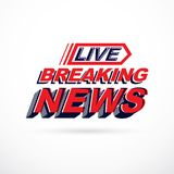 Breaking live news inscription, vector illustration. Social anno Stock Photo