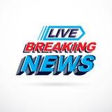 Breaking live news inscription, vector illustration. Social anno Stock Image