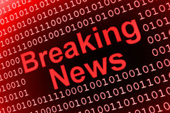 Breaking News. Illustration of binary numbers background with word breaking news in center Stock Photo