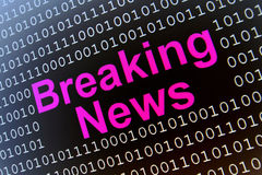 Breaking News. Phrase surrounded by binary numbers on black background Royalty Free Stock Photos