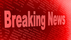 Breaking News. A red illustrated background with a caption 'Breaking News Stock Image