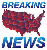 Breaking News. Headline - newspaper page or TV show text with continental US map on background. Additional illustration file is supplied for your needs vector illustration