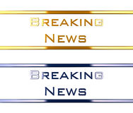 Breaking news. Two text in blue an gold saying breaking news. the material is shiny metal-chrome like. the image is in focus no blur Royalty Free Stock Images