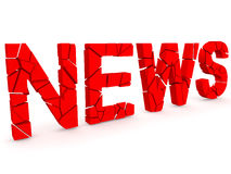 Breaking news. 3D render over white background Royalty Free Stock Images