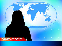 Breaking news. Tv background with woman reporter Royalty Free Stock Photos