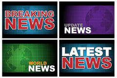 Breaking news. Four breaking news designs isolated on white background.EPS file available Stock Photo