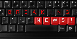 Breaking news. Laptop keyboard ,text breaking news  colored keys Stock Photography