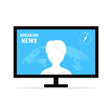 Breaking news with anchorwoman Royalty Free Stock Photos