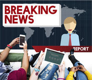 Breaking News Article Broadcast Headline Journal Concept Stock Photo