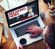 Breaking News Article Broadcast Headline Journal Concept Royalty Free Stock Images