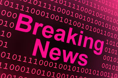 Breaking News background. A pinkish sign or poster with the words Breaking News on a background of ones and zeros representing binary code Stock Photos
