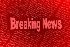 Breaking news background. Illustration of words breaking news in red with columns of newsprint in background Stock Photo