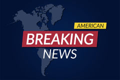 Breaking news background. American news banner with map background. Vector Royalty Free Stock Photos