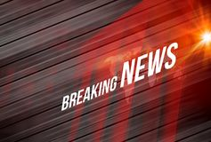 Breaking News background Concept Series. Graphical Breaking News Background Red Theme Background with White Breaking News text and lens flare at right edge Stock Image