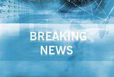 Breaking News background Concept Series 60. Graphical Breaking News Background with news text, Blue Theme Background with White Breaking News Text Stock Image