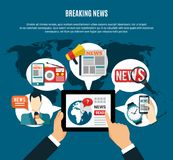 Breaking News Background. With fresh  information on tablet screen tv anchor newspaper and radio receiver round icons flat vector illustration Royalty Free Stock Photos