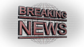 Breaking News - Background. Breaking News Lettering in front abstract world map - Background Stock Photos
