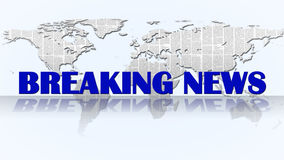 Breaking News - Background. Breaking News Lettering in front abstract world map - Background Royalty Free Stock Image