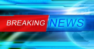 Breaking News background wallpaper. News background wallpaper. Breaking news tag in the center of banner, the blue shiny background and Globe. Vivid design, red Stock Image