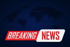Breaking news background with world map on blue.  Stock Photos