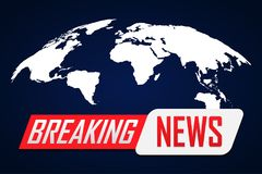 Breaking news background with world map on blue.  stock illustration
