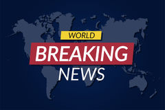 Breaking news background. World news banner on world map background Stock Images