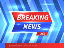 Breaking News Banner with striped blue Background. And bright glares. Vector Template. Vector Illustration Royalty Free Stock Images