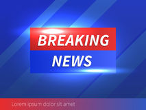 Breaking News Banner with striped blue Background Stock Photo