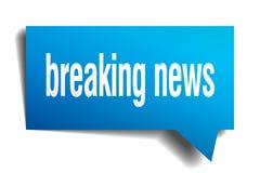 Breaking news blue 3d speech bubble. Breaking news blue 3d square isolated speech bubble Royalty Free Stock Photo