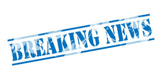 Breaking news blue stamp Stock Photos