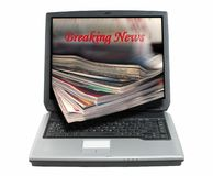 Breaking news-clipping path. Composite image suggesting breaking news concept...everything isolated over white background with clipping path Royalty Free Stock Photo
